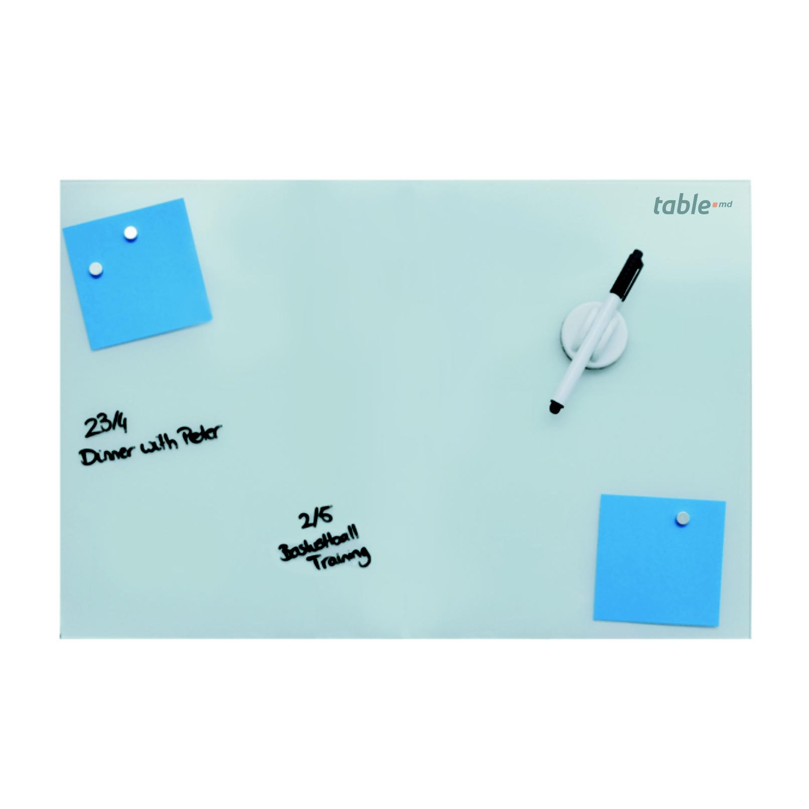 Tabla din sticla alba magnetica